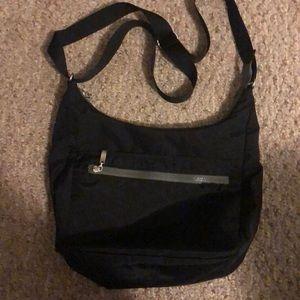 SOLD- Baggallini black nylon shoulder bag-